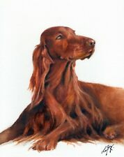 Original Oil Art Irish Terrier Portrait Painting Dog Puppy Artist Signed Artwork