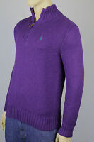 Polo Ralph Lauren Large L Purple 1/2 Half Zip Sweater Green Pony NWT