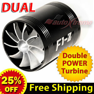 For BENZ Air Intake Dual Fan TURBO Supercharger Turbonator Gas Fuel Saver BLACK