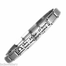 LIBRA ZODIAC Stainless Steel Bracelet - Italian Charm Birthday Fits Nomination