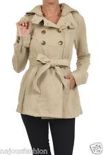 NWT Clash Jeans Coat Pea Coat Jacket double breasted belt hood Juniors&plus size