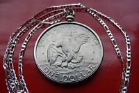 """Antique American EISENHOWER EAGLE Dollar Pendant 30"""" 925 Sterling Silver Chain"""