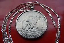 "Antique American EISENHOWER EAGLE Dollar Pendant 30"" 925 Sterling Silver Chain"