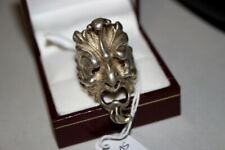 #6121,Hand Crafted Silver Mythology Head Heavy Men's Ring,Sz 10