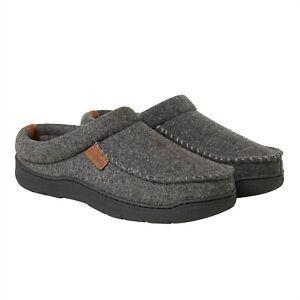 Dearfoams Mens Gray Slippers Clog Shoe Indoor Outdoor Memory Foam Size Medium