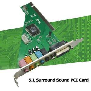 4 kanal 5,1 Surround 3D PCI Sound Audio Karte MIDI Windows XP/7/8/10 für PC V7X5