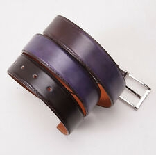 New $295 SANTONI Brown and Purple Gradient Effect Calf Leather Dress Belt 44 W