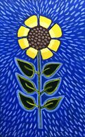 Original Painting Sunflower,Folk/naive Art,On Book Cover, Flowers,pattern