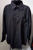 Eighty Eight Mens Black White Striped Button Down Shirt Top Blouse Size XL