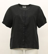 NEUTRAL FLAX LINEN BASICALLY BUTTONED TOP SHORT SLEEVE SHIRT BLACK LARGE 14-16