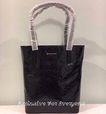 NWT Michael Kors Emry Black Crinkled Leather Large Tote $298