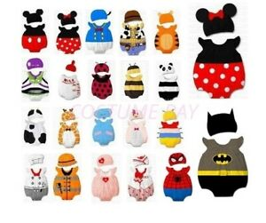 Kids Baby Romper Boys Girls Animal Cattoon Costume Bodysuit Outfit Cloth Set Hat