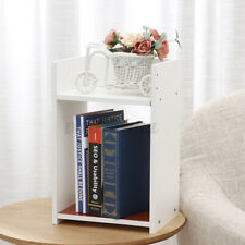 Modern Chic White Wood Bedside Table Cabinet Storage Bedroom Two Layer DIY  #