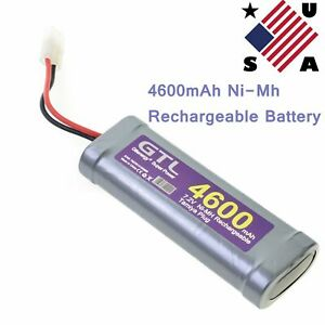 1pc GTL 7.2V 4600mAh Ni-Mh Rechargeable Battery Pack For RC Car With Plug US CA