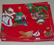(4) Busy Bear Holiday Motif Napkins ~  Red ~ 17 x 17 **NEW**