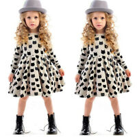 Baby Girls Kids Toddler Polka Cats Long Sleeve Tunic Swing Dress Party Clothes