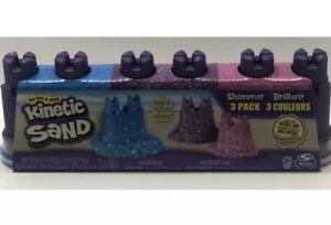 Kinetic Sand Shimmer brilliant 3 Pack Mold Build Play Castle Sand PinkBluePurple