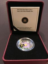 2012 Canada $20 Aster & Bumble Bee Murano Glass 99.99% Silver