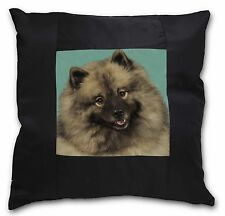 More details for keeshond dog black border satin feel cushion cover with pillow inse, ad-kee1-csb