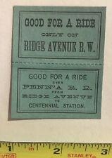 Horse Car, Train Ticket to Centennial Exhibition 1876, PRR, Ridge Avenue Railway