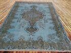 "9'11""x6'3""  Vintage pastel light aqua turquoise light blue  overdyed rug carpet"