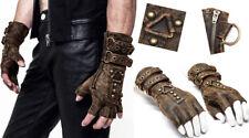 Steampunk fingerless glove mitten cracked leather gothic studs straps PunkRave K