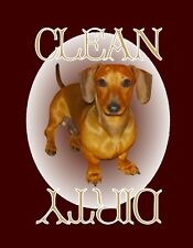 METAL DISHWASHER MAGNET Dachshund Dog Disc Brown Border Clean Dirty Dishes