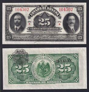 Sonora Mexico 25 centavos 1915 FDS/UNC  B-02