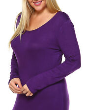 Long Sleeve Maxi Dress in solids colors with scoop neck