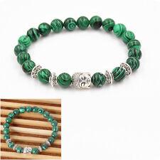 Natural Malachite Stone Beads Bangle Sliver Buddha Energy Stone Yoga Bracelet TG
