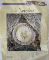 "Vintage NOS The Craft Basket Cross Stitch 10"" Kit Hi Neighbor chicks yellow pink"