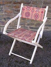 Fauteuil pliant de jardin ou plage, en bois et tissu vintage des années 70