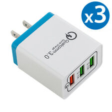3x 30W 3-Port USB Wall Charger Dual Quick Charge 3.0 Ports For iPhone Samsung LG