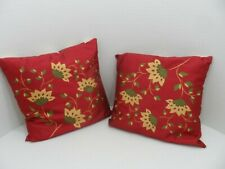 """Pair (2) Pier 1 Throw Pillows Burgundy Floral and Stripe 17.5"""" Square"""