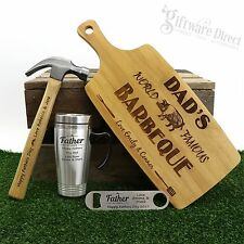 Engraved Fathers Day Gift Pack Cutting Board, Travel Mug, Hammer & Bottle opener