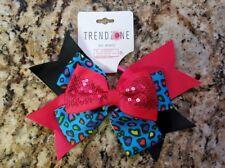Bow Hair Tie Dark Pink Blue Black Animal Print Trendy Zone NEW