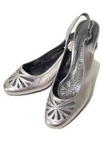M&S Footglove Ladies Sandals UK 5 Silver Close Toe Slingbacks Wider Fit