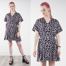 WOMENS VINTAGE 90'S BLUE FLORAL PATTERN TEA DAY DRESS SHORT MINI CASUAL 16