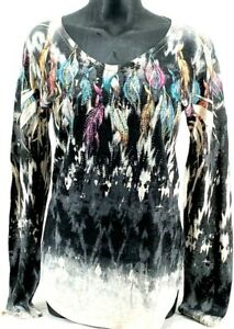 WOMEN'S VOCAL APPAREL NATIVE FEATHERS WESTERN PRINT L/S SHIRT WITH RHINESTONE