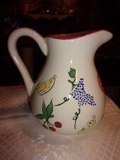 "Handpainted pitcher Fresh Fruit Design - Kic Stonemite - 7.5"" tall - Lotign"
