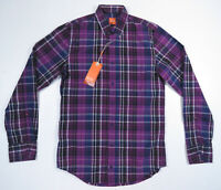 Hugo Boss Orange Label Slim Fit Purple Plaid Long Sleeve EdiopE Shirt Mens S NWT