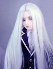 "8-9-10"" 1/3 BJD White Long Wig LUTS Doll SD DZ DOD MSD Pullip Dollfie Hair HUAL"