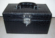 Black Faux Crocodile Leather Makeup Jewlery Case w/ Removeable Tray and Mirror