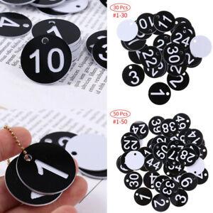 50 Plastic Round ID 1-50 Number Tags Hangers w/Key Rings Restaurant Club Locker
