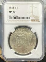 1923 US Peace Silver Dollar $1 90% NGC MS62 Collectible Coin  #303-004