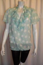 Women's Chiffon Green  White  Polka Dots Flared Short  Sleeve Long Blouse  8-12