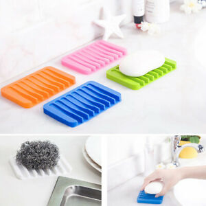 Silicone Soap Holder Non Slip Soap Dish Box Tray Draining Rack Bathroom Shower