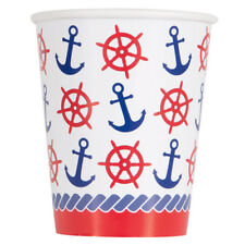 SUMMER Nautical Anchors 9oz PAPER CUPS (8) ~ Birthday Party Supplies Beverage
