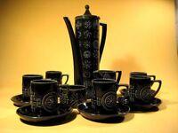 """TOTEM"" Susan Williams Ellis UK Kaffee Service 60er Jahre dunkelgrün MCM 60s"