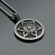 Men's Stainless Steel Jewelry Fashion Black Round Dog Tag Pendant Necklace Chain